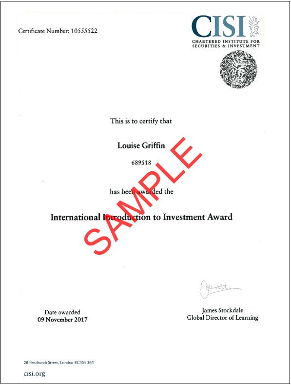 cisi chartered institute certificate