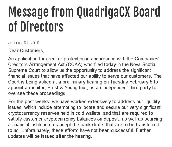 quadrigacx faillite