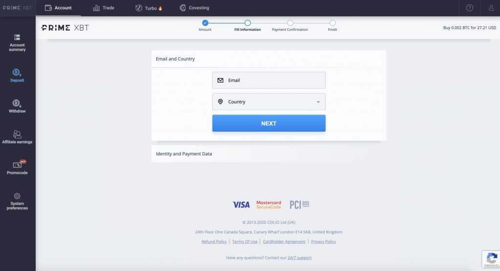 primexbt crypto carte credit