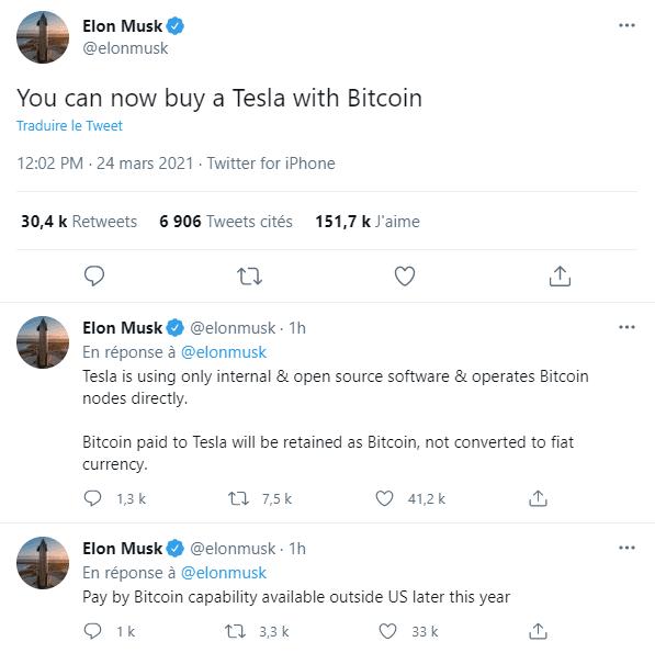 elon musk bitcoin tesla bourse tsla