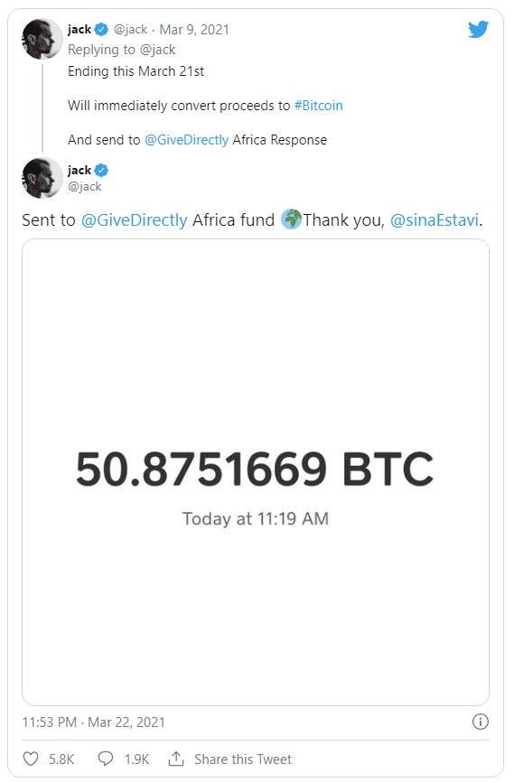 jack twitter tweet vente bitcoin