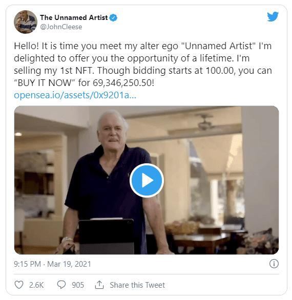 John Cleese the unnamed artist twitter