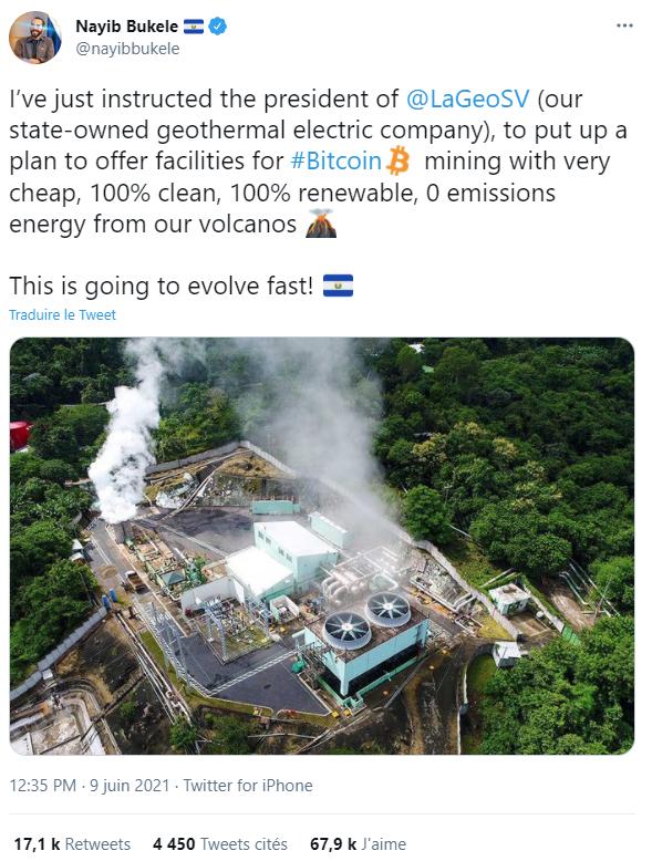bitcoin extraction énergie renouvelable volcan salvador